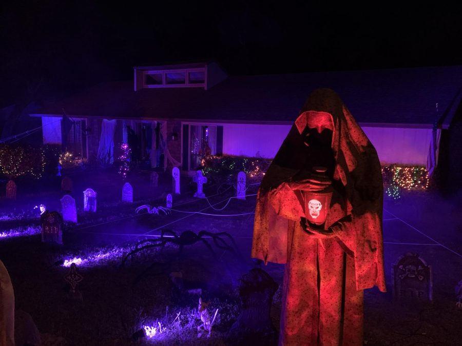 In+spite+of+many+cancelled+Halloween+festivities+due+to+COVID-19%2C+Corley%E2%80%99s+family+still+found+ways+to+show+holiday+spirit.+They+continued+their+tradition+of+setting+up+a+large+display+of+Halloween+decorations.+%E2%80%9CWe+love+the+holidays+and+it%E2%80%99s+something+fun+to+do+each+year%2C%E2%80%9D+Corley+said.+%E2%80%9CPlus%2C+seeing+how+excited+the+kids+get+at+the+decorations+and+candy+is+a+good+feeling+as+well.%E2%80%9D