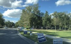 """Various presidential signs are lined up along roads throughout Seminole County during the weeks leading up to election day. """"I do not think presidential signs affect people's voting habits,"""" senior Melissa Sargent said. """"Even after long discussions about candidates, it's very rare that someones mind is changed, so a simple sign most definitely won't affect anyone""""."""