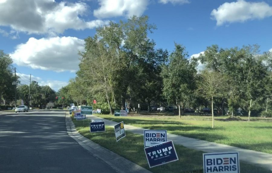 "Various presidential signs are lined up along roads throughout Seminole County during the weeks leading up to election day. ""I do not think presidential signs affect people's voting habits,"" senior Melissa Sargent said. ""Even after long discussions about candidates, it's very rare that someone's mind is changed, so a simple sign most definitely won't affect anyone""."