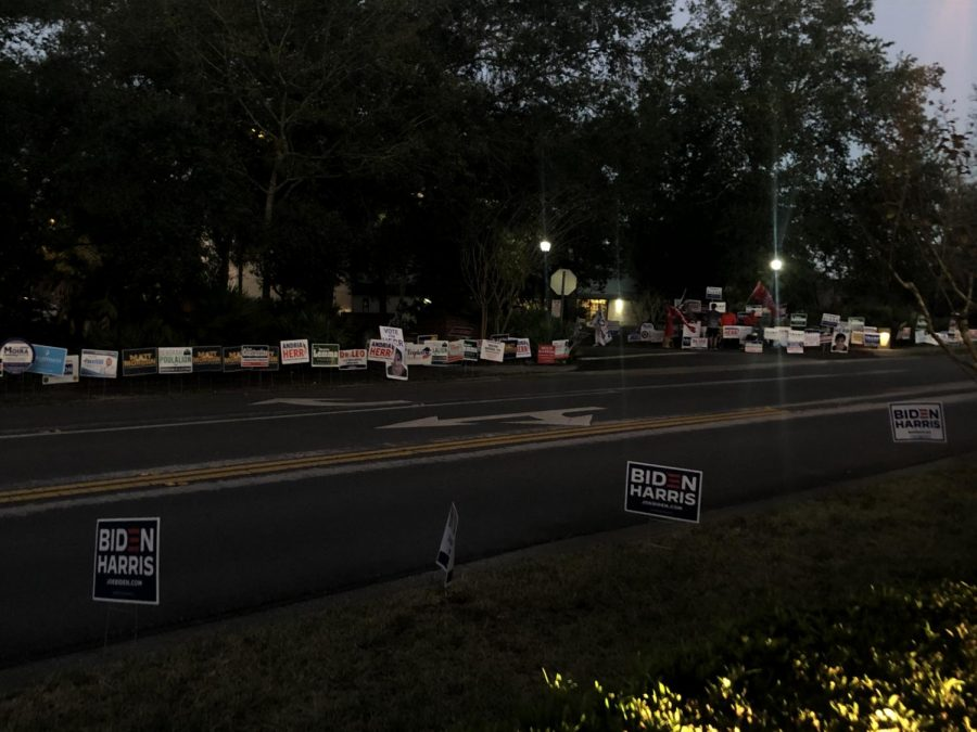 One of the locations voters could cast their ballots was at the Seminole County Public Library. In political spirit, numerous signs and flags were placed along the side of the road in hopes to sway voters' decisions and present candidates on their way to fill out this year's ballot.