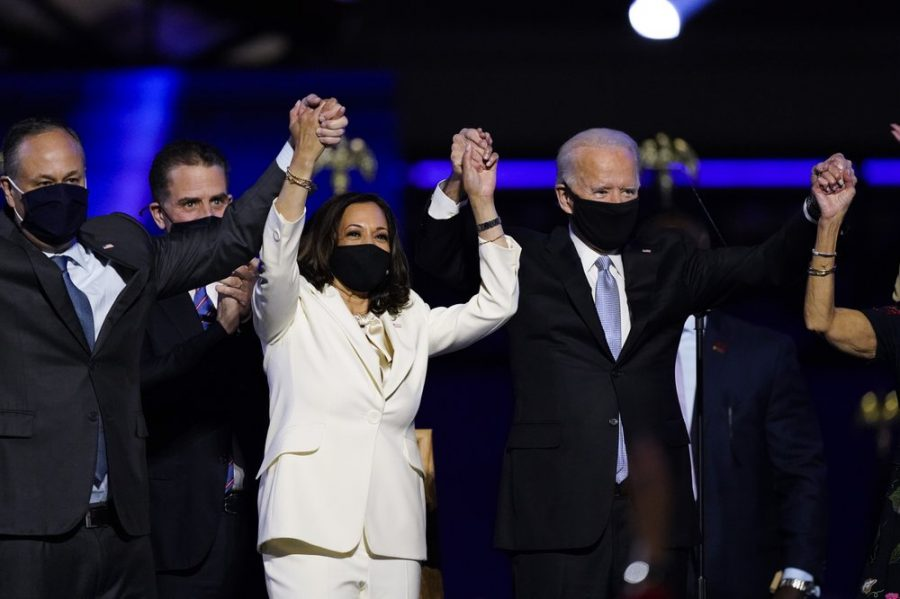 Vice+President+Kamala+Harris+and+President+Joe+Biden+celebrate+with+staffers+and+family+after+a+victory+speech+in+Delaware.+After+a+long+contention+by+Republicans%2C+Biden+finally+got+confirmed+on+Nov.+7.