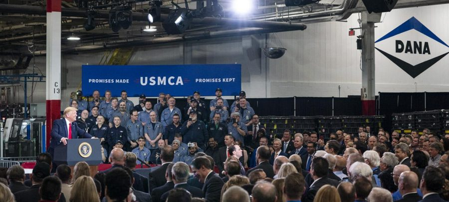 Former President Donald Trump gives a speech to workers at a manufacturing plant in Mich. after signing the United States- Mexico- Canada Agreement, a replacement for NAFTA. Although most of his speeches do not result in violence, Trump draws people in with his words, and taking advantage of that could lead to violence, like on Jan. 6. provided by the Trump Administration