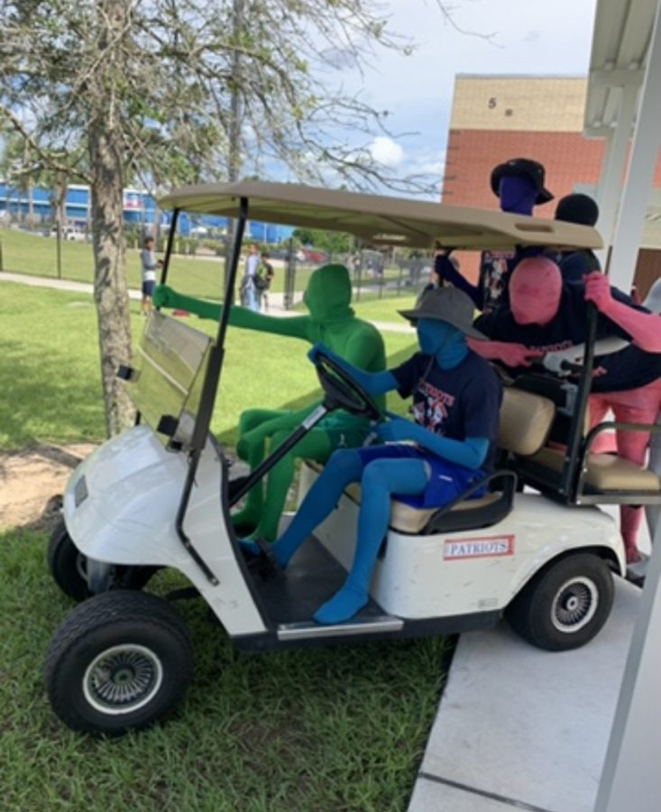 As football season opens, the Brantley Boys have made their comeback for the first time since the 2019-2020 school year. These masked members of the student body work to excite students for upcoming games. At the Lake Mary pep rally, this group rode around on a golf cart, spreading school spirit through waving and chanting alongside the student body.