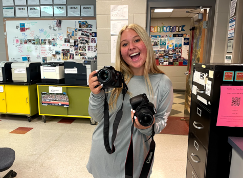 Treasurer of film club and junior Hannah Williams has fun with cameras. I've never worked with film so I think it will just automatically increase my interest. I know only like two people that have worked with film in that class so it is pretty cool that we are all new to it.