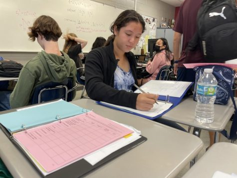 """During Mrs. Visavachaipan's 3rd and 4th block period of AP Calculus AB and BC, junior Olivia Abram finishes up an assignment. Due to scheduling, this now 35 student class is the only time the class is offered on campus. """"With a lot of kids in that class, it makes it different when you're learning,"""" Abram said. """"There's less one-on-one help with the teacher."""""""