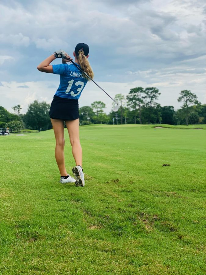 """Bretton Mackiewicz hits a golf ball at Wekiva Golf Club on Thursday, Aug. 26. Contributing to the team's victory, Mackiewicz has a fond outlook on the match. """"We won by 16 strokes,"""" Mackiewicz said. """"After the match we all had a dinner together."""""""