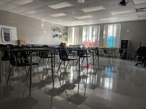The ongoing staff shortages within the local community have negatively impacted the school district, businesses and students. This classroom, now unused, was once full of students, but has been unfilled for weeks after a major schedule change occurred due to the insufficient resources for students and teachers.